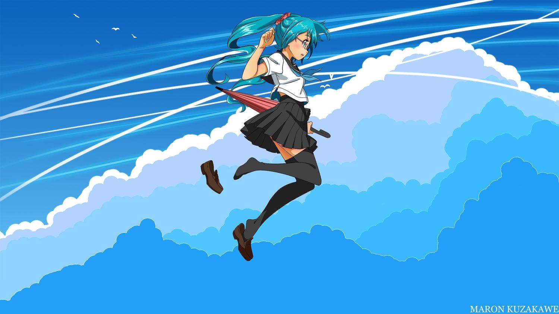 aqua_eyes aqua_hair clouds glasses hatsune_miku kuzakawe_maron long_hair school_uniform skirt sky thighhighs twintails umbrella vocaloid