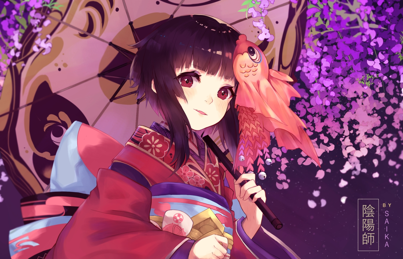 blush brown_hair headdress japanese_clothes kagura_(onmyouji) onmyouji petals red_eyes saika_(saika_nyan) short_hair umbrella watermark