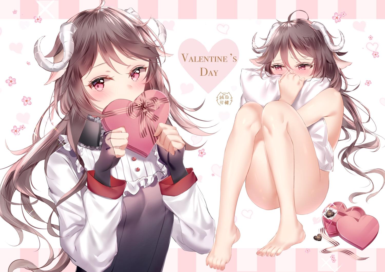 animal_ears arknights barefoot eyjafjalla_(arknights) horns junpaku_karen long_hair nude valentine