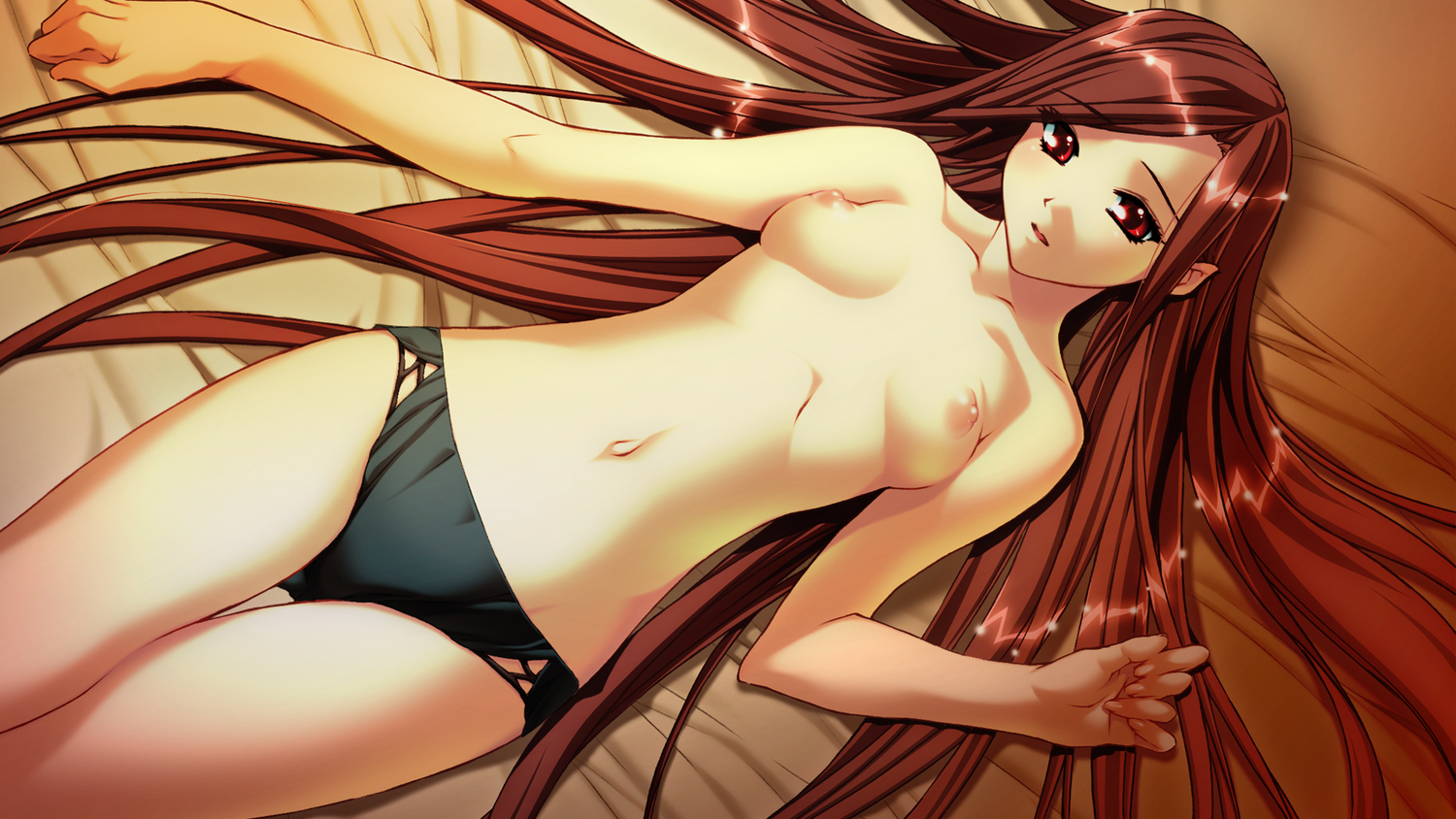 bed breasts brown_hair game_cg ino izayoi_no_hanayome kiryuu_iyori long_hair nipples panties topless underwear