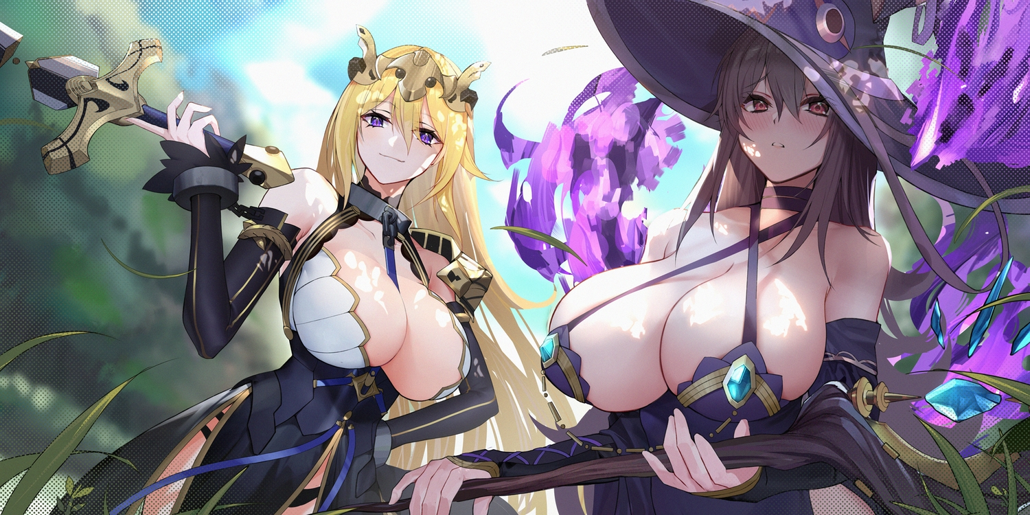 2girls aloe_(red:_pride_of_eden) blonde_hair brown_eyes brown_hair dress grass hat long_hair mage panties purple_eyes red:_pride_of_eden staff sword tagme_(character) underwear weapon witch_hat xiujia_yihuizi