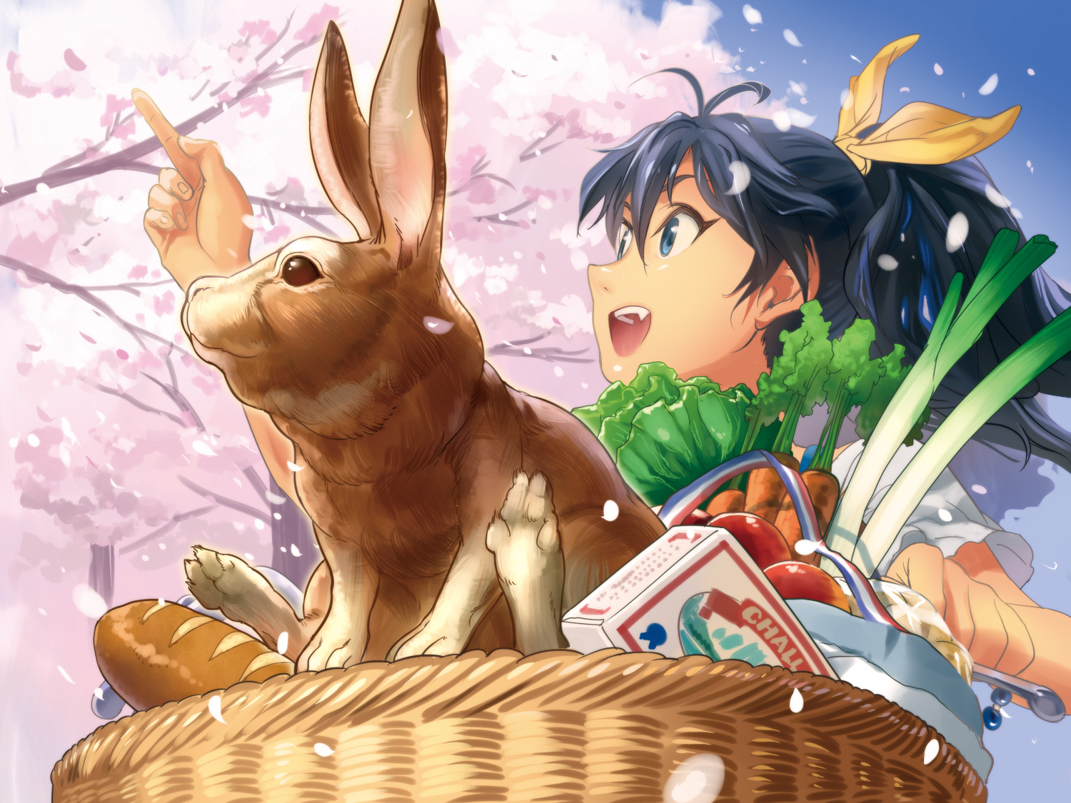 andou_chikanori animal black_hair blue_eyes bunny cherry_blossoms food ganaha_hibiki idolmaster long_hair petals rabbit