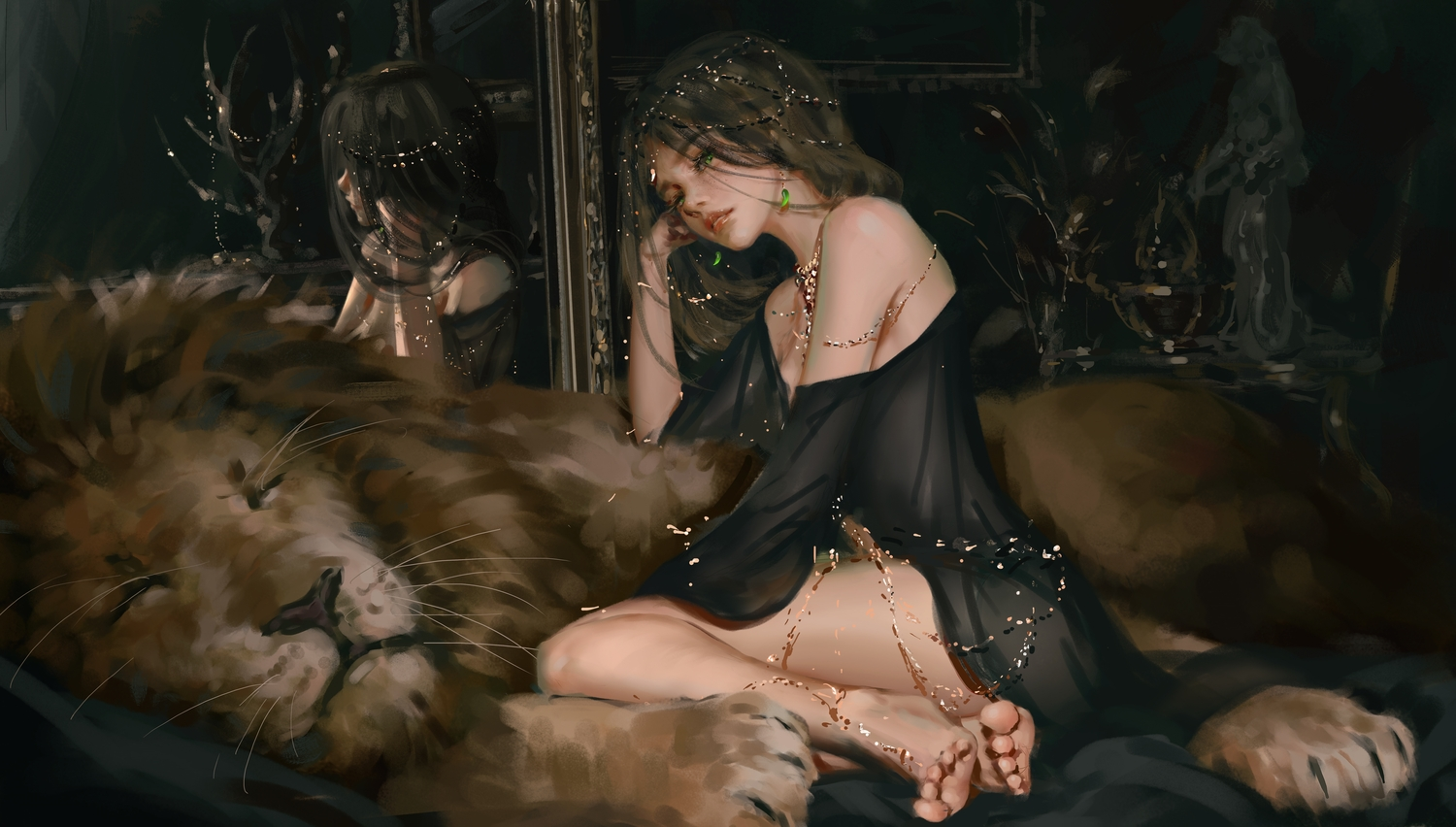 animal barefoot brown_hair dress ghostblade green_eyes lion long_hair mirror princess_aeolian realistic reflection wlop