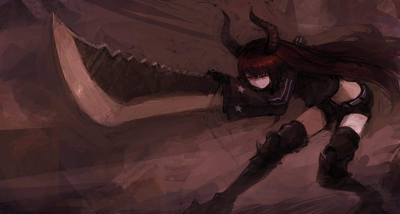 armor bee_(deadflow) black_rock_shooter brown_hair horns irino_saya long_hair red_eyes sword weapon