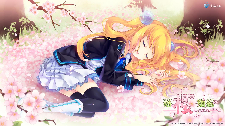 aizawa_hikaru aliasing flowers microsoft os-tan petals school_uniform shinia sleeping thighhighs