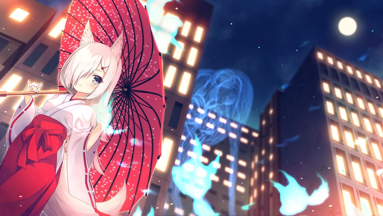 animal_ears building city foxgirl japanese_clothes magic miko night original tail white_hair yuku_(kiollion)