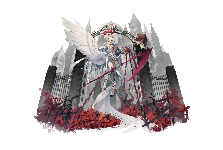 armor blush building dress garter gray_hair halo headdress ji_dao_ji long_hair original red_eyes scythe thighhighs third-party_edit weapon white wings
