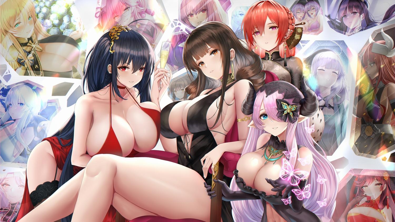 anthropomorphism atago_(azur_lane) azur_lane bismarck_(azur_lane) breasts cleavage crossover dsr-50_(girls_frontline) enterprise_(azur_lane) fate/grand_order fate_(series) girls_frontline granblue_fantasy illustrious_(azur_lane) monarch_(azur_lane) narmaya_(granblue_fantasy) original piukute062 prinz_eugen_(azur_lane) scathach_(fate/grand_order) stockings taihou_(azur_lane) tamamo_no_mae_(fate)