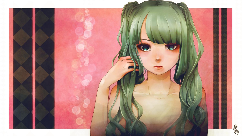 green_eyes green_hair hatsune_miku long_hair naka_(nicovideo14185763) signed twintails vocaloid