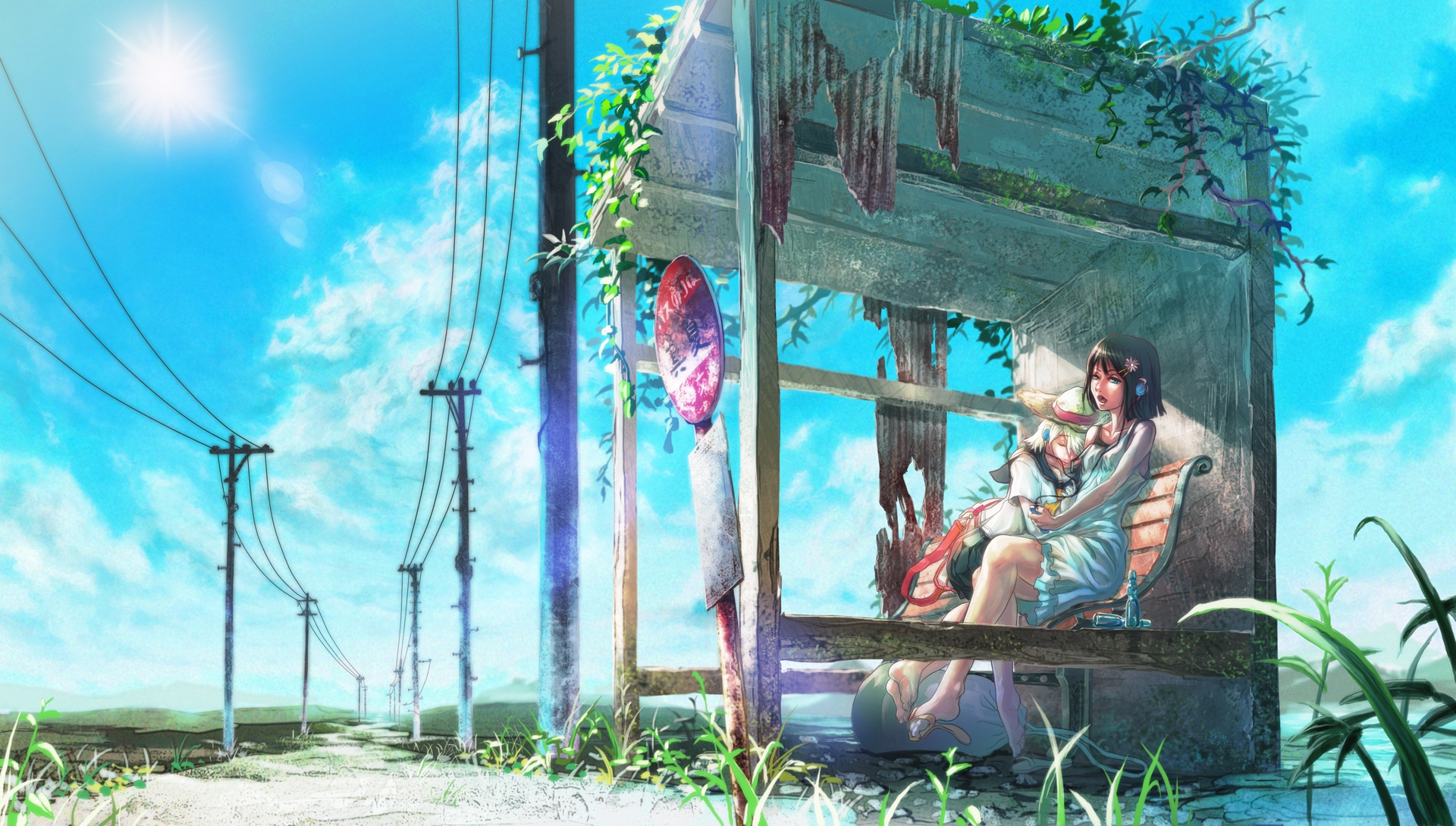 Сельскую девушку на остановке 7 фотография