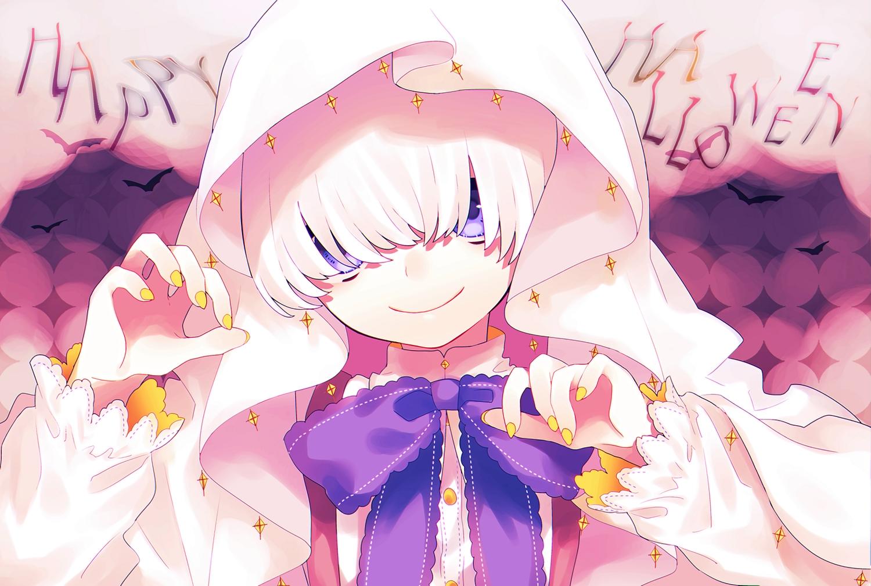 all_male blue_eyes bow close halloween headdress male original short_hair tsubaki_tsubaru waifu2x white_hair