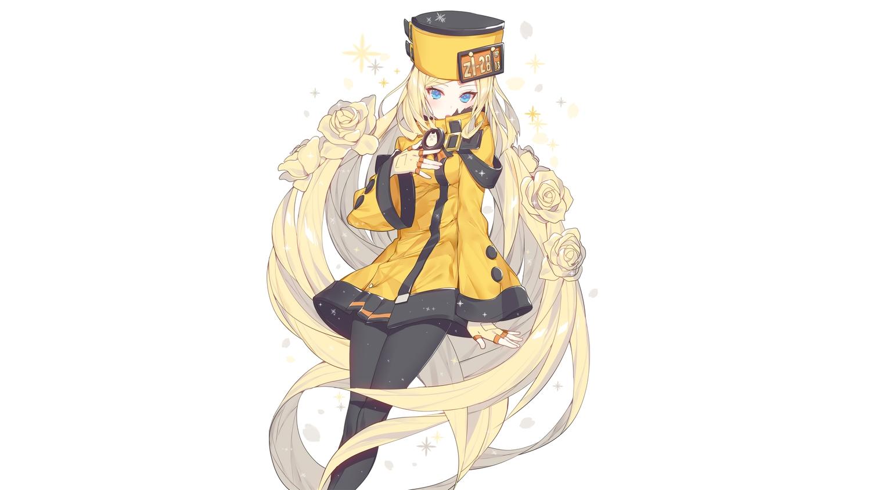 aqua_eyes blonde_hair gloves guilty_gear hat headdress long_hair millia_rage pantyhose ronopu white