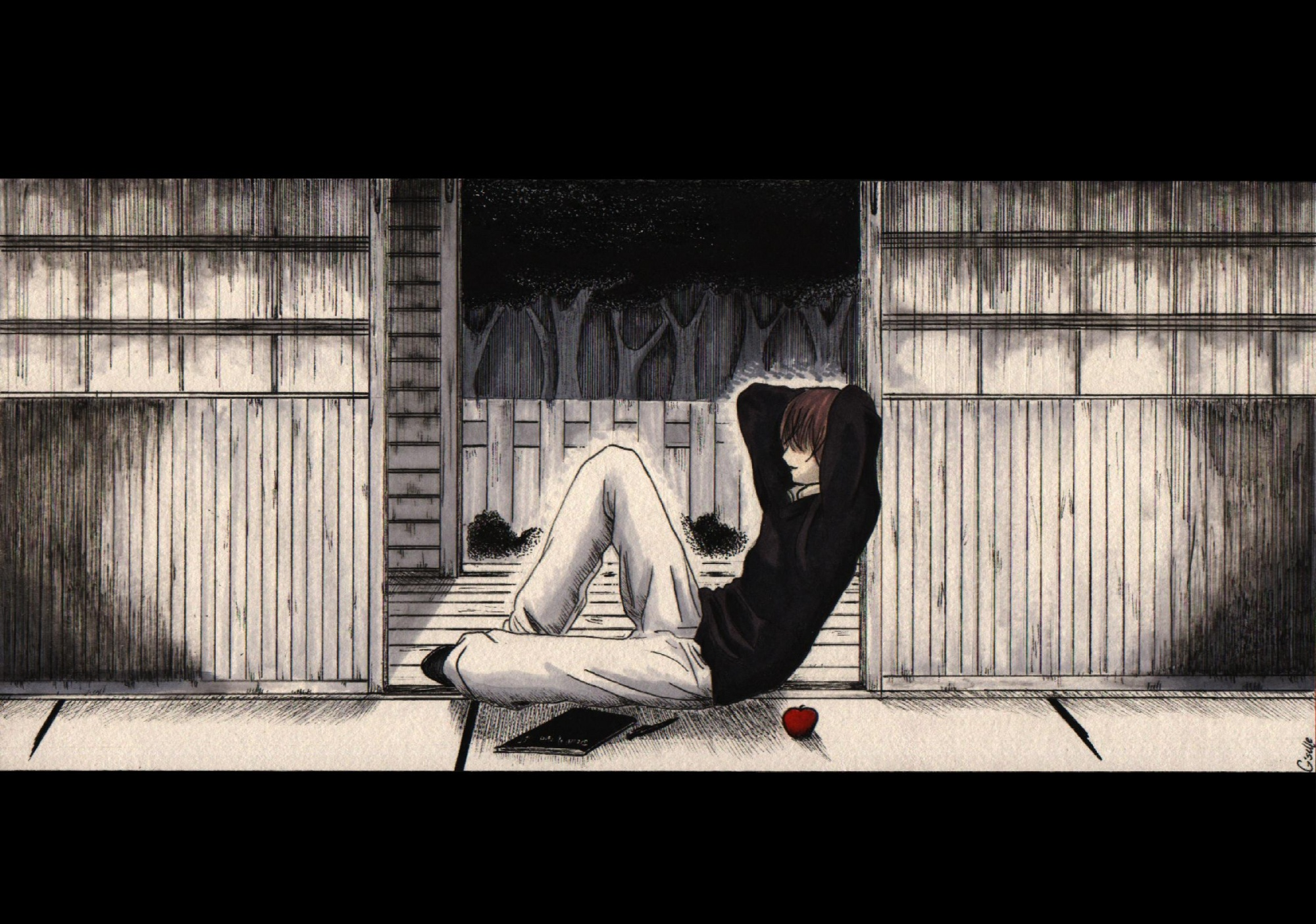 all_male apple death_note food fruit male polychromatic yagami_light