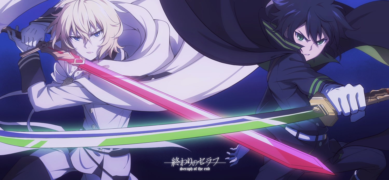 all_male black_hair blonde_hair blue_eyes cape fcc gloves green_eyes hyakuya_mikaela hyakuya_yuuichirou male owari_no_seraph short_hair sword vampire weapon