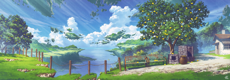 building clouds food fruit grass mocha_(cotton) nobody original scenic signed sky tree waifu2x water