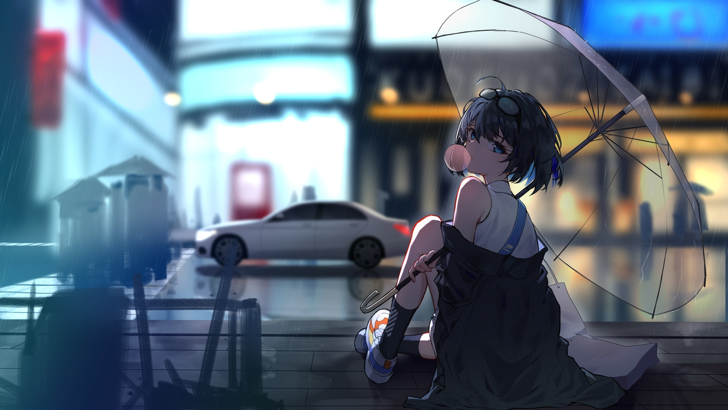 glasses honkai_impact jpeg_artifacts kuo_(kuo114514) rain seele_vollerei short_hair umbrella water