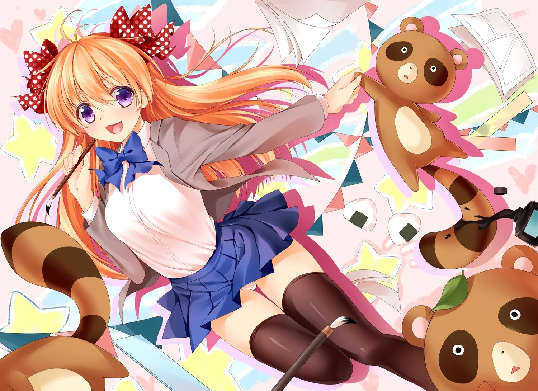 Bow Gekkan Shoujo Nozaki Kun Orange Hair Panties Purple Eyes