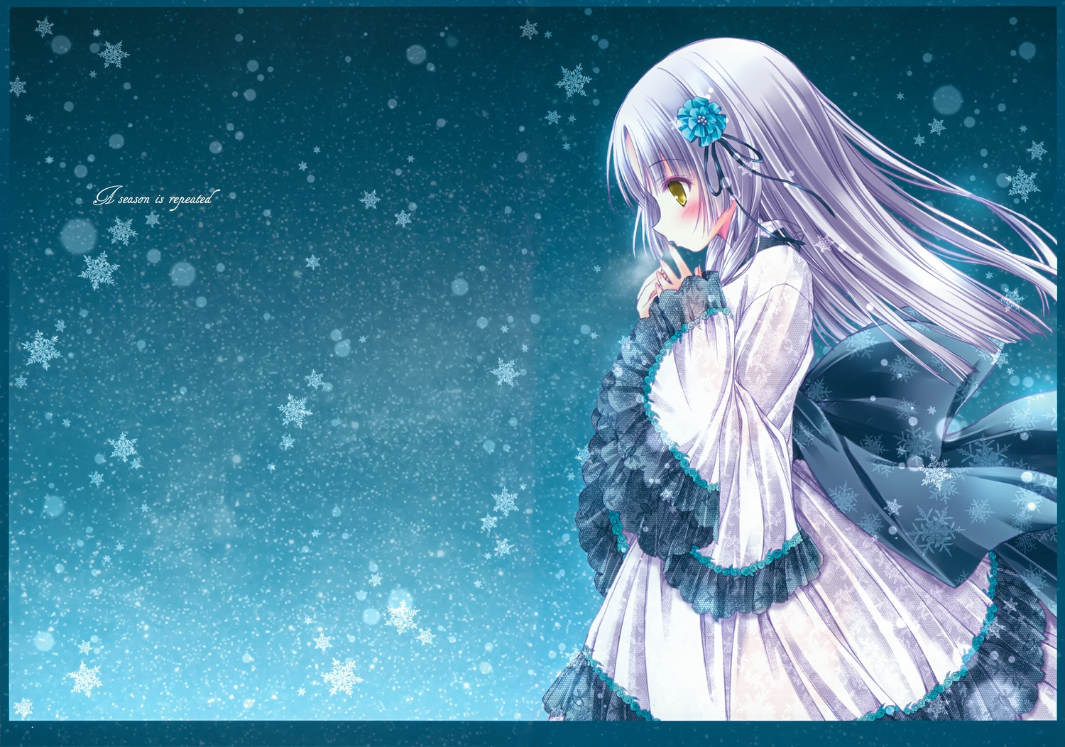 dress gray_hair japanese_clothes lolita_fashion long_hair original scan snow tinkerbell tinkle