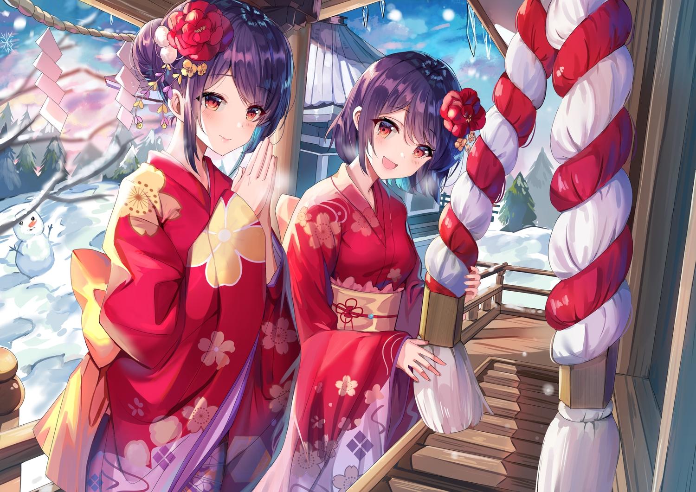 2girls blush clouds flowers gejigejier girl_cafe_gun_(game) japanese_clothes kimono purple_hair red_eyes rope short_hair shrine sky snow snowman tree twins winter