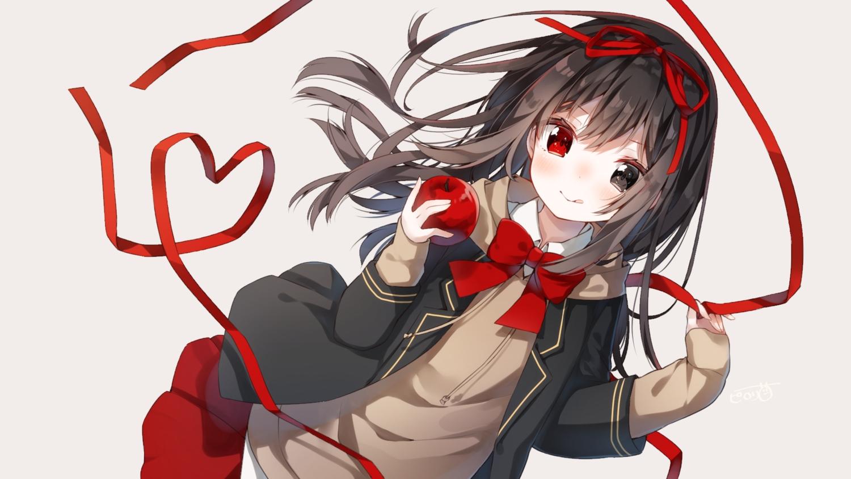 apple bicolored_eyes bow brown_hair food fruit heripiro hoodie long_hair original seifuku skirt