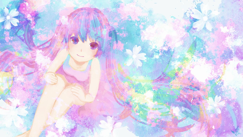 chi@ki dress flowers hatsune_miku long_hair polychromatic summer_dress twintails vocaloid