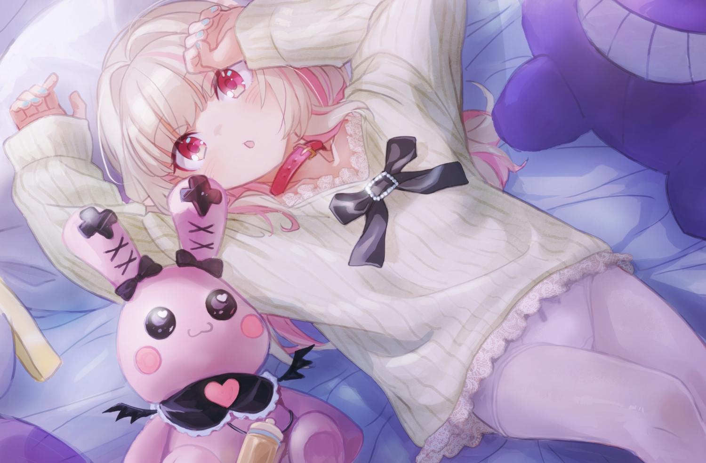 bed blonde_hair bunny collar demon loli makaino_ririmu nijisanji panties pantyhose pointed_ears red_eyes sabamen underwear