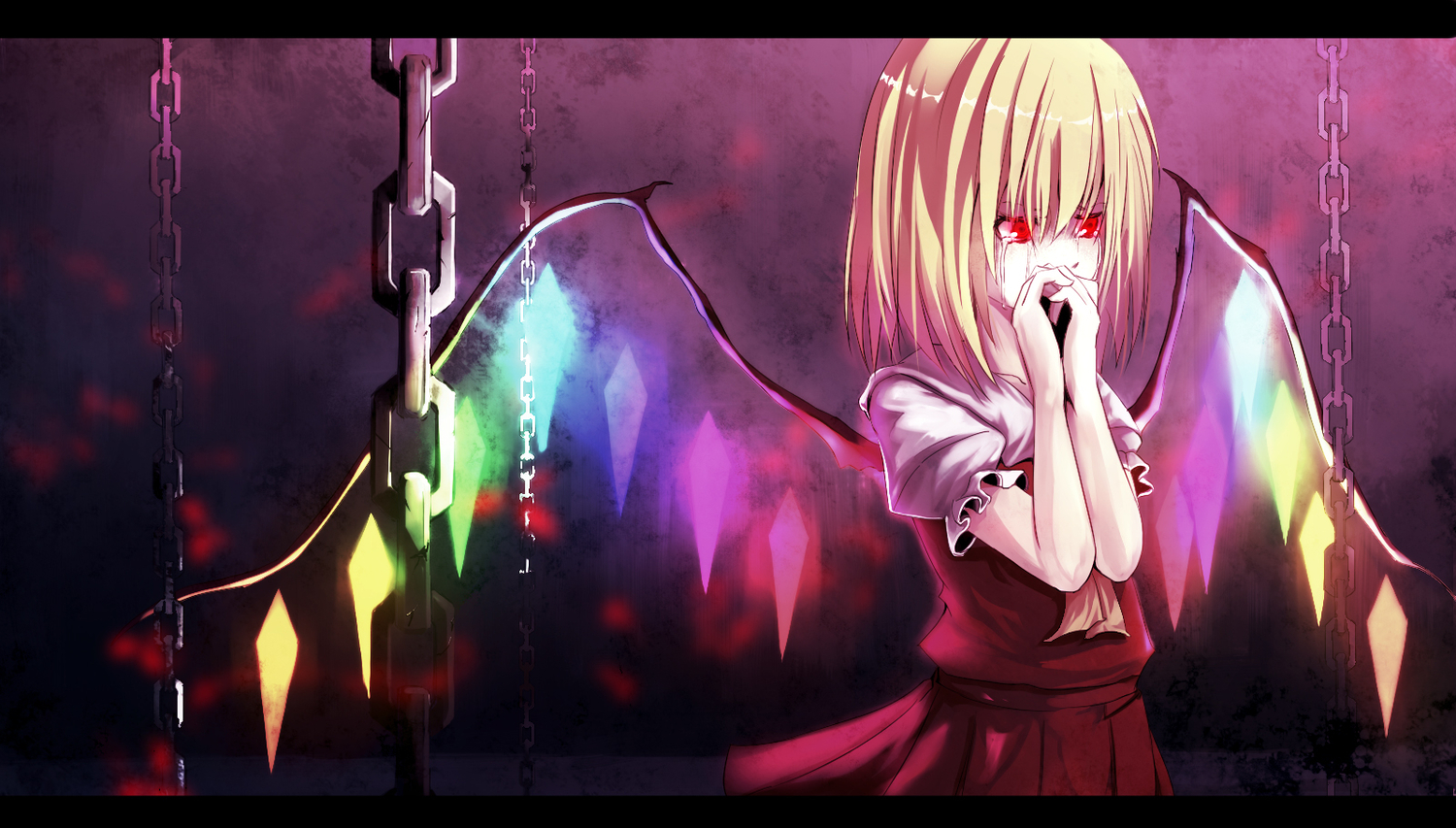 blonde_hair canae0 chain flandre_scarlet red_eyes tears touhou vampire wings