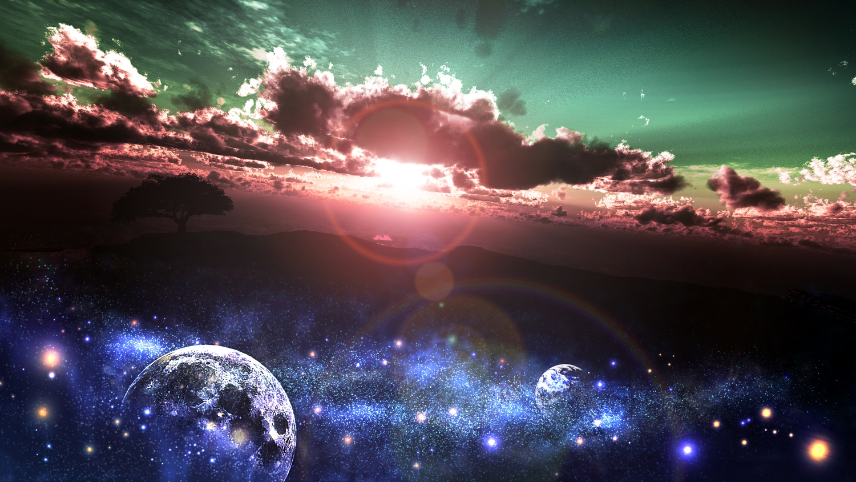 3d clouds landscape moon nobody original scenic sky stars tree y-k