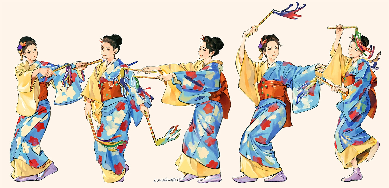 brown_hair japanese_clothes kimono original signed socks umishima_senbon
