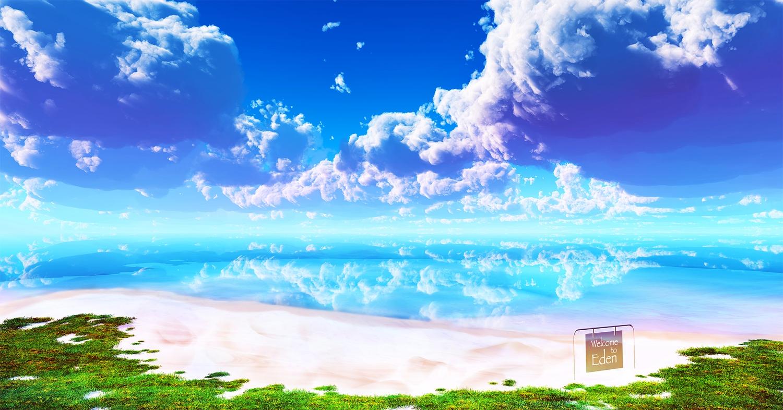3d beach clouds grass landscape nobody original scenic sky water y-k