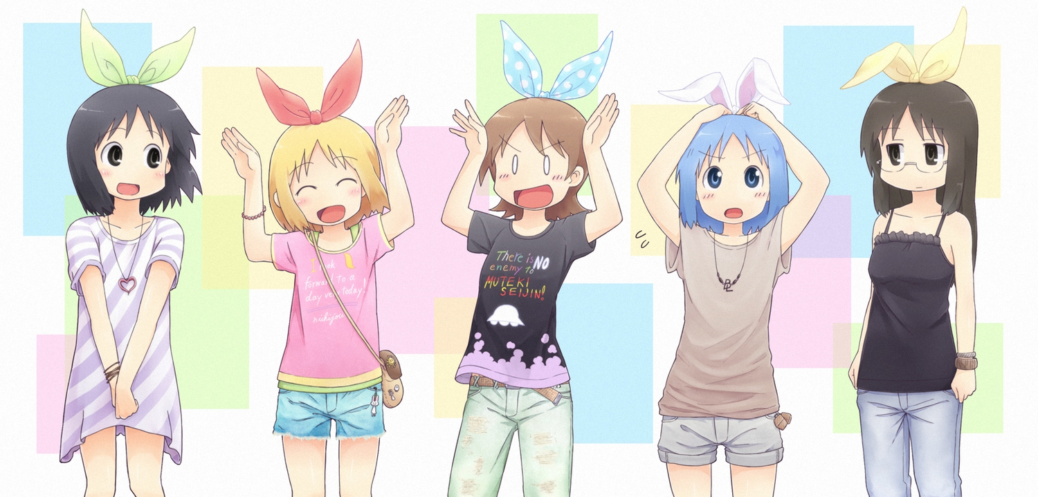 aioi_yuuko annaka_haruna black_eyes black_hair blonde_hair blue_eyes blue_hair blush bow brown_eyes brown_hair glasses hiroki_eiki long_hair minakami_mai naganohara_mio necklace nichijou shinonome_nano short_hair