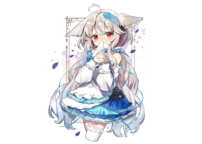animal_ears blush bow dress fujii_shino gray_hair lolita_fashion long_hair original paper petals red_eyes ribbons thighhighs white