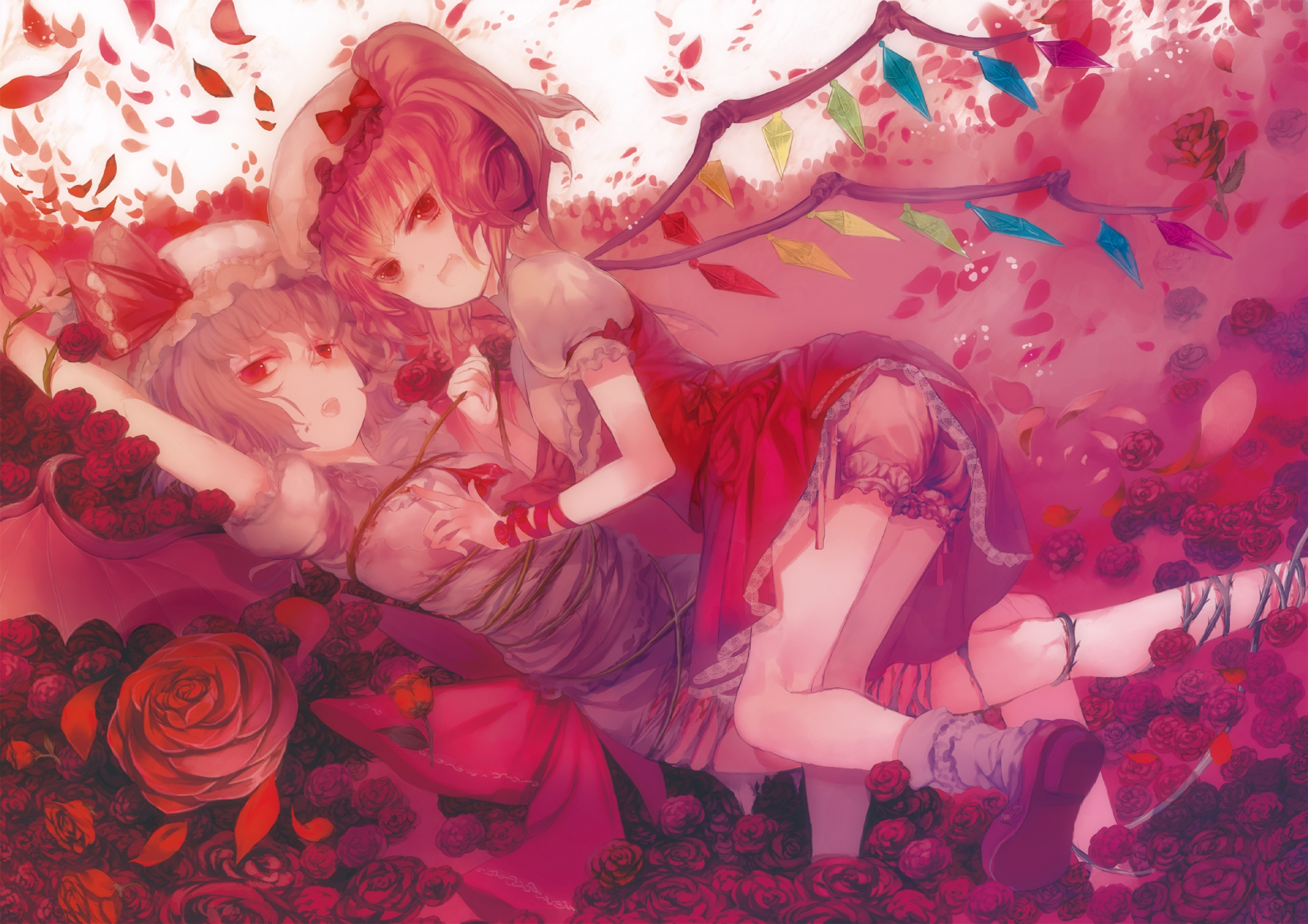 2girls blood bloomers bondage dress fang flandre_scarlet flowers hat leiror red_eyes remilia_scarlet rose torn_clothes touhou vampire wings