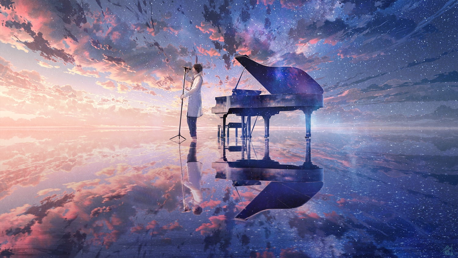 all_male clouds instrument male microphone mocha_(cotton) nico_nico_singer original piano reflection signed sky sunset