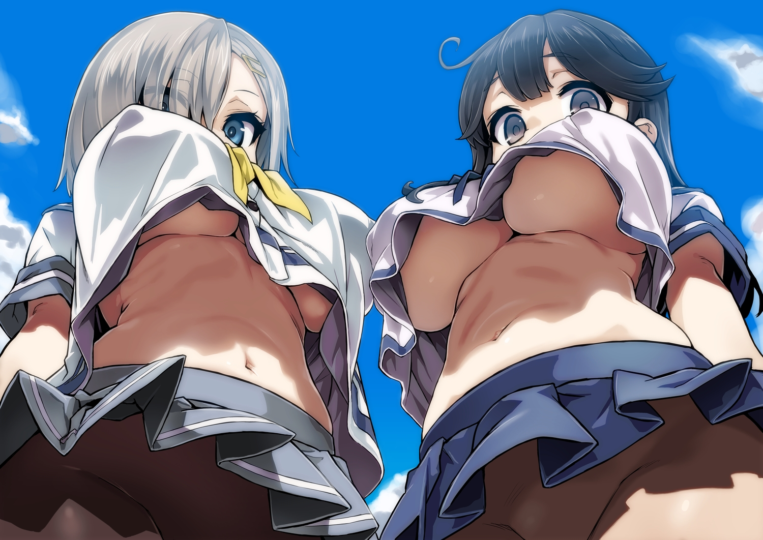2girls anthropomorphism asanagi breasts erect_nipples hamakaze_(kancolle) kantai_collection navel no_bra nopan pantyhose seifuku skirt underboob upskirt ushio_(kancolle)