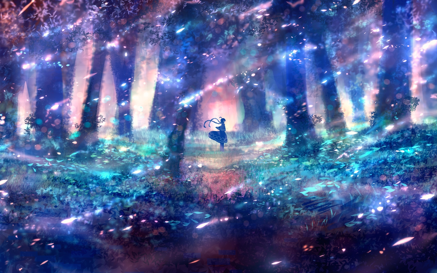 bou_nin braids cape forest long_hair original polychromatic scenic skirt tree twintails