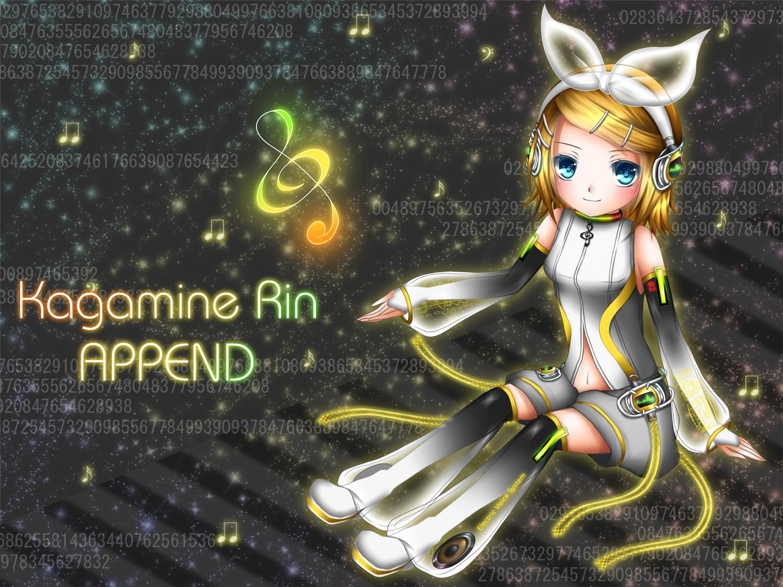 aqua_eyes blonde_hair bow headphones kagamine_rin rin_append thighhighs vocaloid