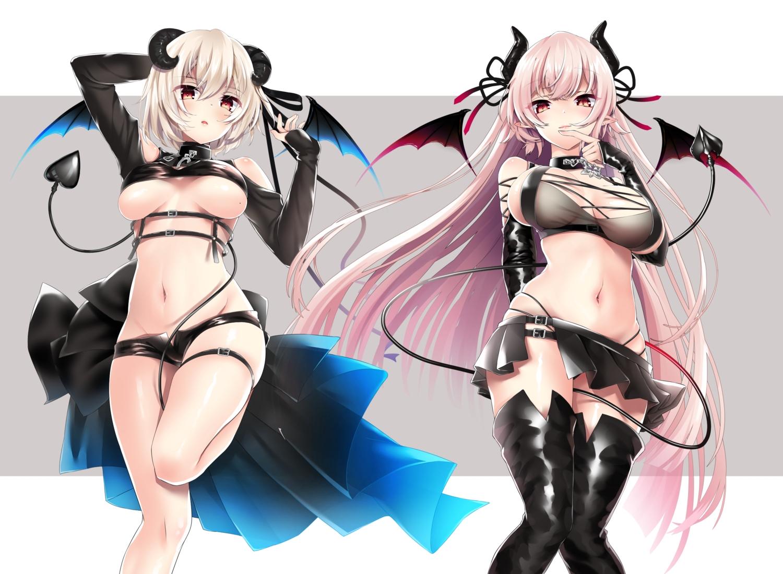 2girls aliasing demon horns long_hair navel no_bra pink_hair pointed_ears shorts skirt tagme_(character) tail touwa_iyo wings