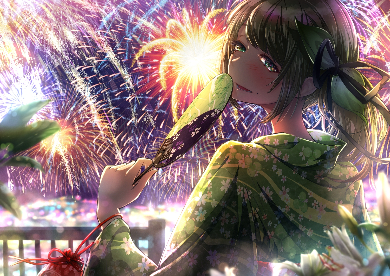 aliasing blush brown_hair cluseller fan fireworks green_eyes japanese_clothes original ponytail sky summer yukata
