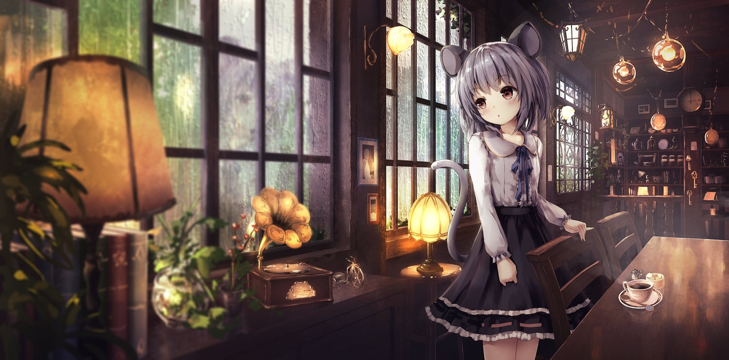 aliasing animal_ears apple228 gray_hair mousegirl nazrin rain red_eyes scenic short_hair tail touhou water