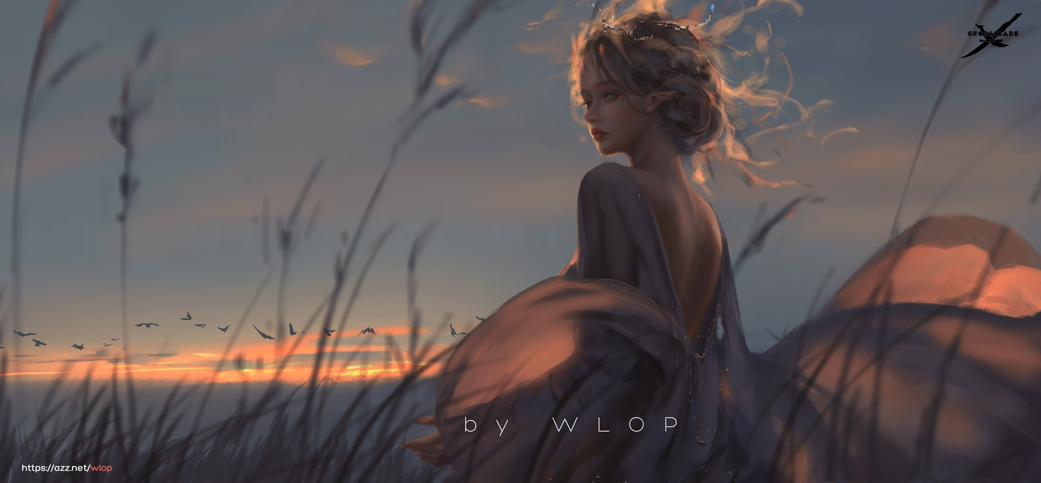 ghostblade grass realistic scenic sunset tagme_(character) watermark wlop