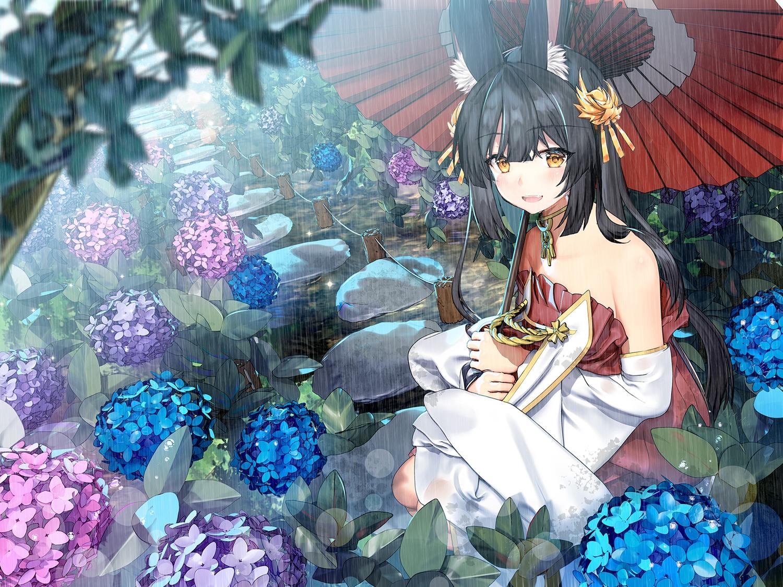 animal_ears anthropomorphism azur_lane black_hair flat_chest flowers foxgirl japanese_clothes miko nagato_(azur_lane) rain sugita_ranpaku umbrella water