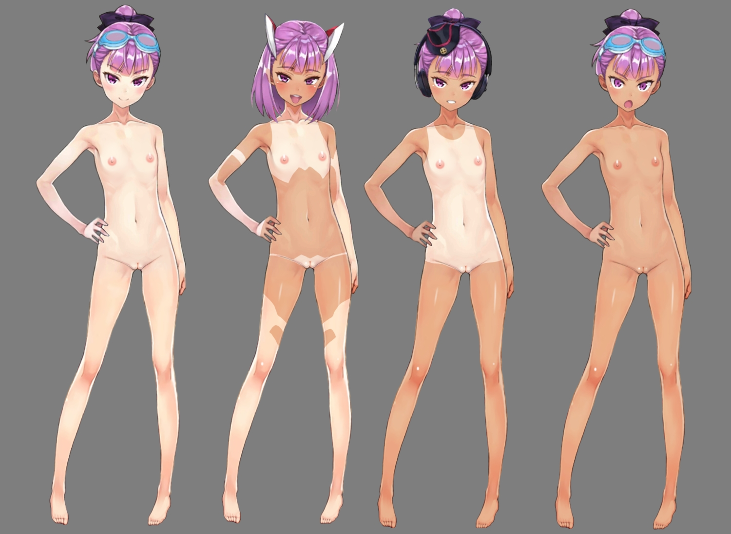 barefoot blush breasts dark_skin fate/grand_order fate_(series) flat_chest goggles hat headphones helena_blavatsky_(fate) navel nipples nude purple_eyes purple_hair pussy short_hair sunglasses tagme_(artist) tan_lines transparent uncensored