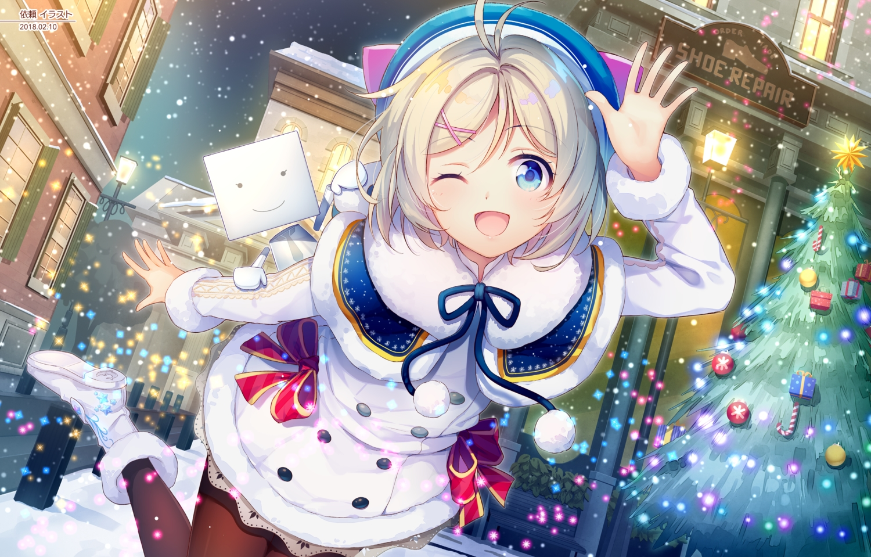 blonde_hair blue_eyes boots bow building christmas dennou_shoujo_youtuber_shiro hat nijihashi_sora pantyhose ribbons shiro_(dennou_shoujo_youtuber_shiro) snow tree wink winter