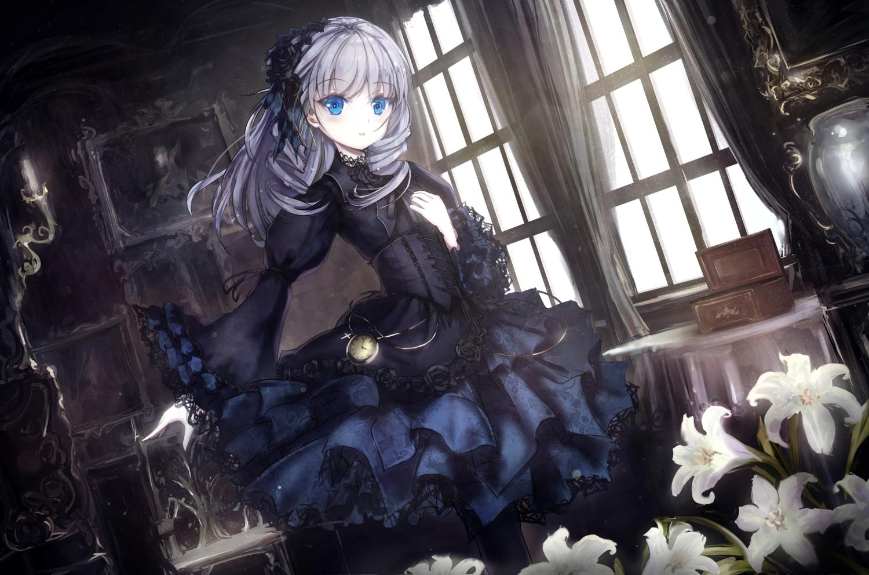 apple228 blue_eyes corset dress flowers goth-loli gray_hair lolita_fashion long_hair original ribbons