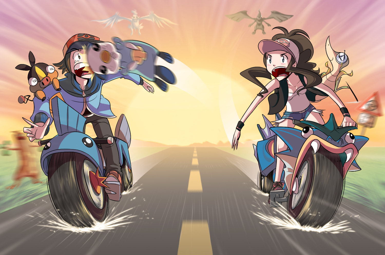 all_male gyarados male motorcycle mudkip oshawott pokemon reshiram sky snivy sudowoodo sunset tepig touko_(pokemon) touya zekrom