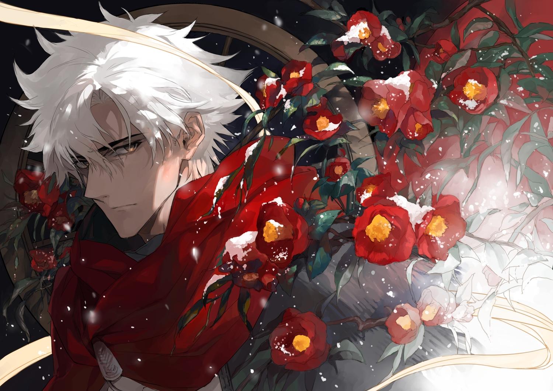 all_male cape emiya_kiritsugu fate/grand_order fate_(series) flowers hoodie male seomouse short_hair snow white_hair yellow_eyes