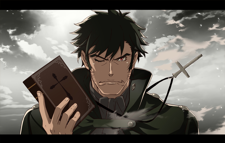 all_male black_hair book clouds cross guillotine_cutter kizumonogatari male monogatari_(series) necklace nyoronyoro pink_eyes short_hair sky waifu2x
