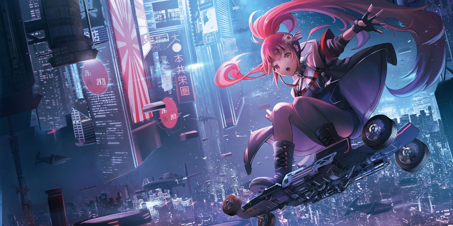 aircraft boots building city gloves long_hair night o-sd! ponytail red_eyes red_hair