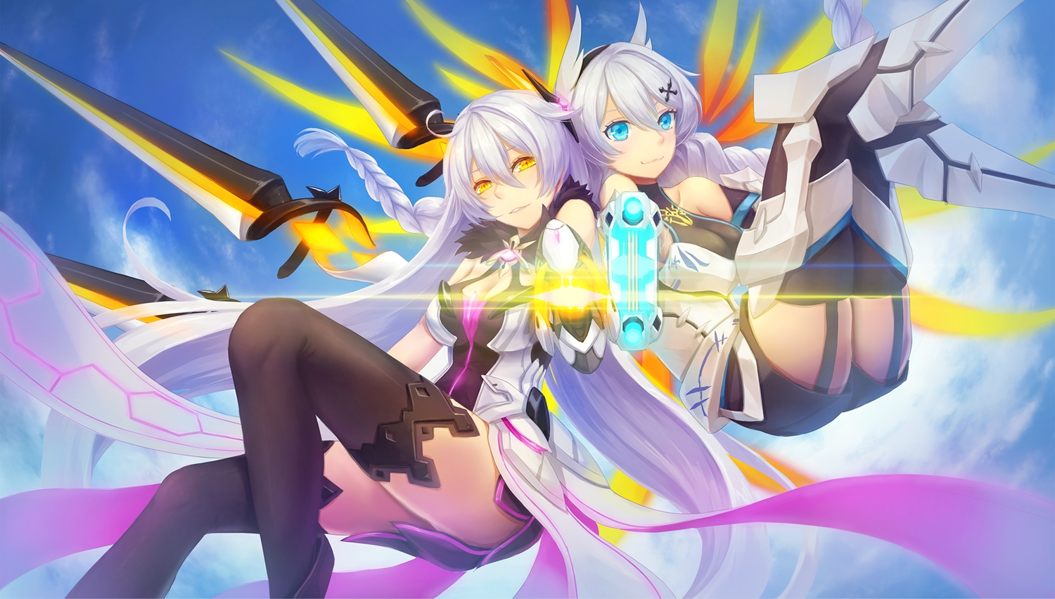 2girls aqua_eyes armor braids breasts cleavage clouds dress garter_belt gray_hair gun honkai_impact kallen_kaslana kiana_kaslana long_hair shorts sky thighhighs ulquiorra0 weapon yellow_eyes